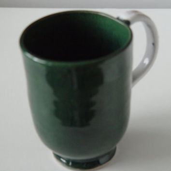 Unique Coffee Mug \ Tea Cup Large Handled 12 ounce oz pottery,  Forest Green & White, Wheel Thrown Pottery ceramic