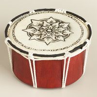 Hand Painted Wood and Leather Drum - World Market