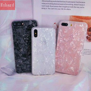 New Hipster  Marble Epoxy Fritillaria Case For iPhone X 8 8 Plus 7 7 Plus 6 6s 6 Plus Case Back Cover Capa Fundas Coque