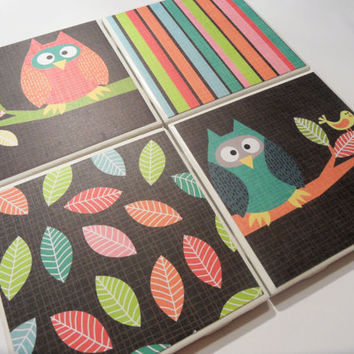 Cute Owls, Stripes, and Leaves Brown Ceramic Coasters - set of 4