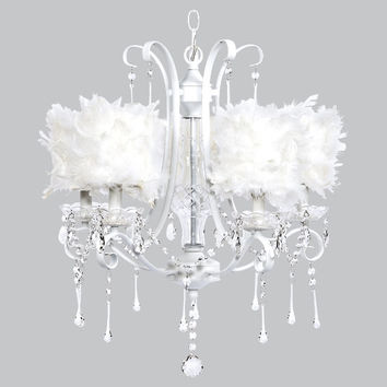 5 Light White Colleen Chandelier with White Feather Drum Shades