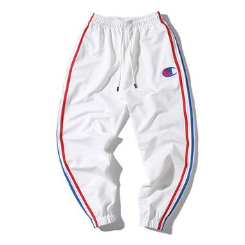 Champion Fashion Women Men Casual Embroidery Drawstring Sport Pants Trousers Sweatpants White