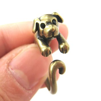 Puppy Dog Animal Wrap Around Ring in Brass - Sizes 4 to 9 Available