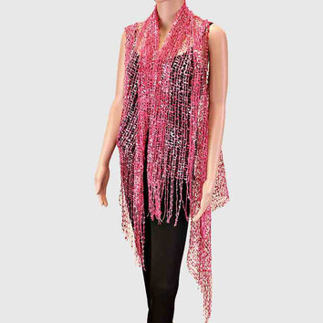 Fringe Net Sheer Beach Cover Up Poncho Pink
