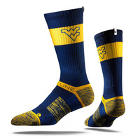 Strideline® 2.0 Blue Mountaineer, West Virginia, Blue–Gold Crew Socks NEW