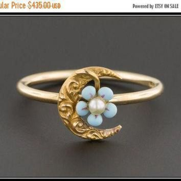CREYUG7 ON SALE Crescent Moon Stick Pin Conversion Ring  Crescent Moon & Forget-Me-Not Flower