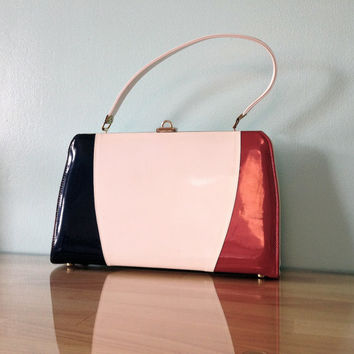 1960s Handbag Kelly Bag / Patriotic Red White Blue / Patent Purse Mad Men Style Mid-Century