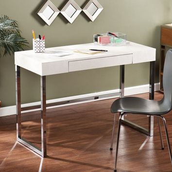 Silver Orchid Baum Textured White Desk | Overstock.com Shopping - The Best Deals on Desks