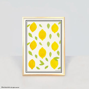 Lemon fruit print-lemon wall art-botanical wall art-botanical print-modern print-kitchen wall art-kitchen decor-rustic decor-yellow-NPAG50