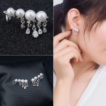 Glass Pearls 925 Silver Stylish Accessory Earrings [4914861060]