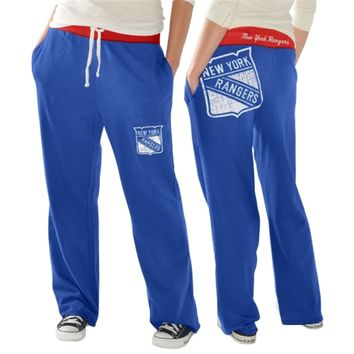 New York Rangers Ladies Recruit Fleece Pants - Royal Blue