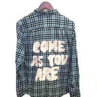 "Flannel Nirvana Shirt in Blue/Black Plaid, ""Come As You Are"""