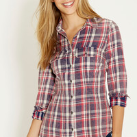 button down shirt in faded plaid
