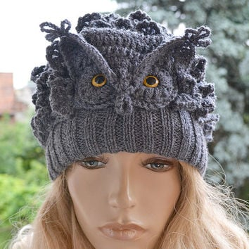 Crocheted knitted gray owl  cap hat beanie   great horned owl ;o)