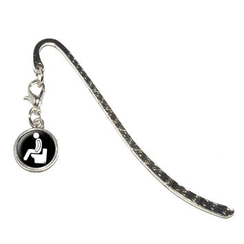 Poop - Pooping Toilet Metal Bookmark with Charm