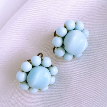 Vintage Baby Blue Threaded Cluster Earrings - Glass Beads- Screw Back Earrings - Cluster Earrings - Mid Century - Vintage Jewelry