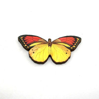Butterfly Brooch, Yellow Butterfly, Red Butterfly, Badge, Illustration Jewelry, Animal Brooch, Woodland