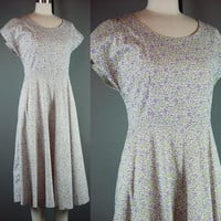 50s Cotton Day Dress Vintage 1950s Togs Violet Green Floral House Bill Sims L