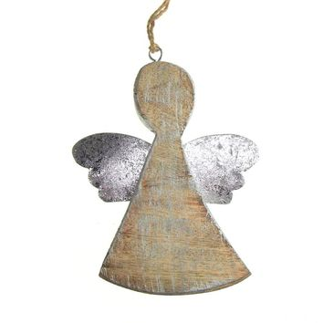 Hanging Wooden Distressed Angel with Tin Wings Christmas Ornament, Silver, 5-1/4-Inch