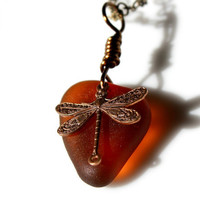 Amber Dragonfly Sea Glass Necklace by SeaglassReinvented