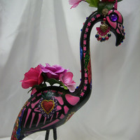 day of the dead skeleton flamingo tiara, quinceanera dia de los muertos sugar skull flamingo tiara, plastic flamingo