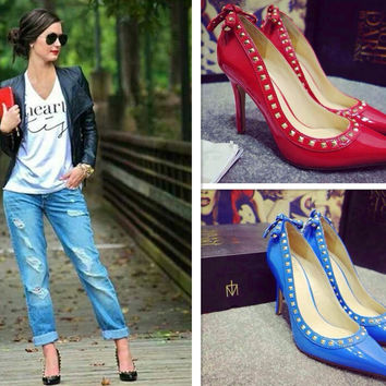 Leather Pointed Toe High Heel Butterfly Rivet Shoes [4919950916]