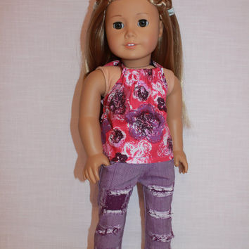 18 inch doll clothes, pink floral halter top, purple ripped skinny jeans, american girl ,maplelea