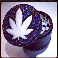 3D Rhinestone Pot Leaf SharpEdge Grinder by OnMyGrindAccessories