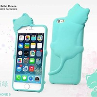 """""""Hello Deere"""" Lovely 3D Cat Cartoon Soft Shell Case with Earphone Jack Dust Cover for iPhone 6 (4.7 Inch Screen) - (Mint HD-DFMI6-02)"""