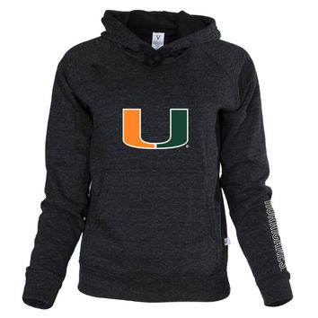 Official NCAA University of Miami Hurricanes The U UM U of M Canes Women's Buttersoft Adult Hoodie - Unisex, Triblend