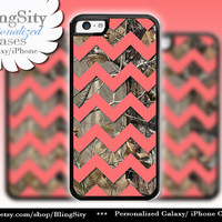 Monogram Iphone 5C case Camo Coral Chevron iPhone 5s iPhone 4 case Ipod 4 5 case Real Tree Personalized Country Inspired Girl