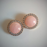 Vintage 60's Round Earrings Rose Quartz Clip-ons with Rhinestone Accents