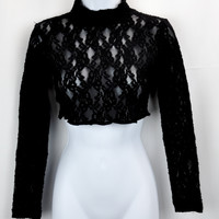 Vintage Ceduxion Black Lace Long Sleeve Crop Top Shirt Medium