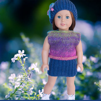 AG Doll Knitting Pattern Skirt, Top & Hat Complete Outfit PDF - Silk Garden - Skill Level Easy