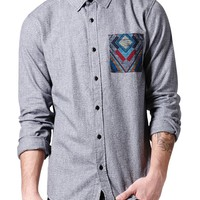 On The Byas Marled Texture Long Sleeve Woven Shirt - Mens Shirt