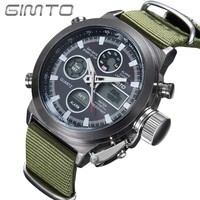 GIMTO Quartz Digital Sports Watches Men Leather Nylon LED Military Army Waterproof Diving Wristwatch - Military