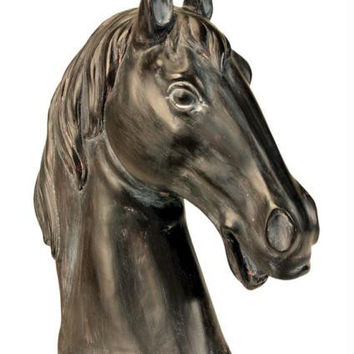 Horse Bust Sculpture - Antique Brown Finish
