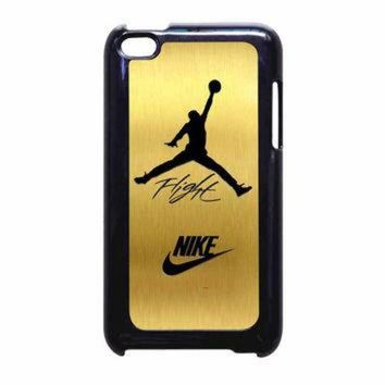 DCKL9 Nike Jordan Flight Jump In Gold Texture iPod Touch 4th Generation Case