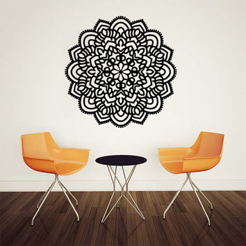 Wall Decal Vinyl Sticker Decals Art Home Decor Mural Mandala Ornament Indidan Geometric Moroccan Pattern Yoga Namaste Flower Om Bedroom AN51