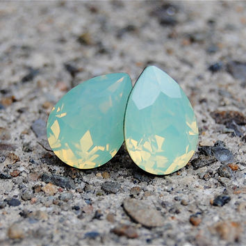 Mint Green Seafoam Earrings Swarovski Green Milky by MASHUGANA