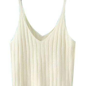 White V-neck Knitted Crop Top
