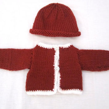 American Girl Doll Sweater Beanie Hat Set Red White