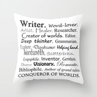 Writer Throw Pillow by Rebekah Joan