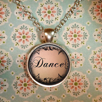 Dance Necklace, Ballet Pendant, Dancer, Vintage Pendant, Dance Pendant T620