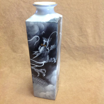 1940s Noritake Bone China Porcelain Dragon Vase with Gold Trim