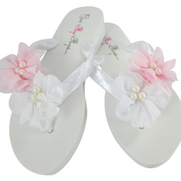 White & Pink Bridal Party Flip Flops with Flowers