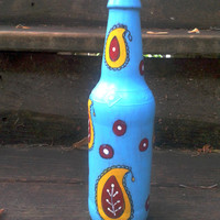 Decorative Bottle,Flower Vase,Handpainted Upcycled Beer Bottle,Turquoise Bottle,Paisley Design,Bohemian Bottle,Christmas Gift,Housewarming