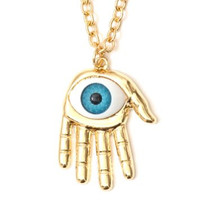 Psychic Palm Necklace Gold Tone Occult Eyeball Hand Eye Statement Pendant NJ42 Fashion Jewelry