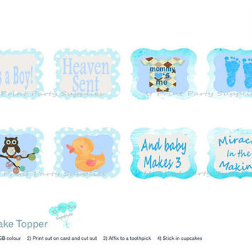 Cupcake topper and wrapper combo-Baby Shower BOY - Heaven Sent theme-Printable file-DIY