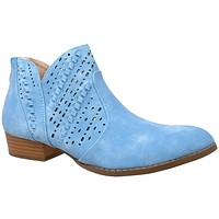 Womens Ankle Boots Western Block Heel Bootie Perforated Cutout Shoes Blue